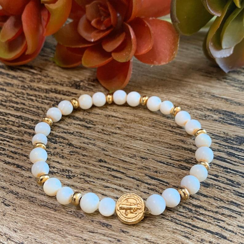 Mother of Pearl Bracelet Saint Benedict