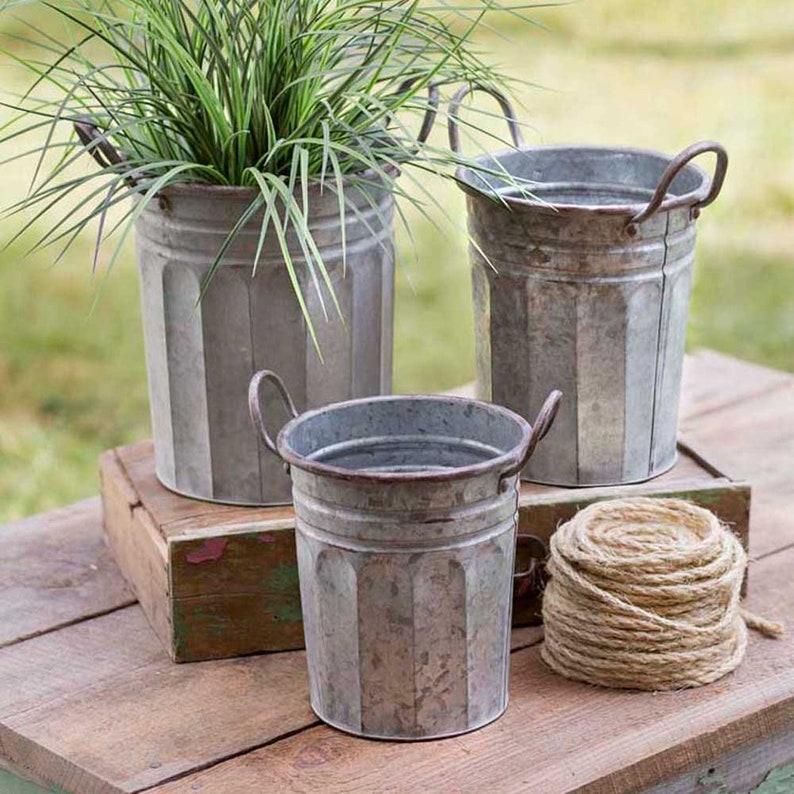 Set of 3 Metal Garden Pails with Handles