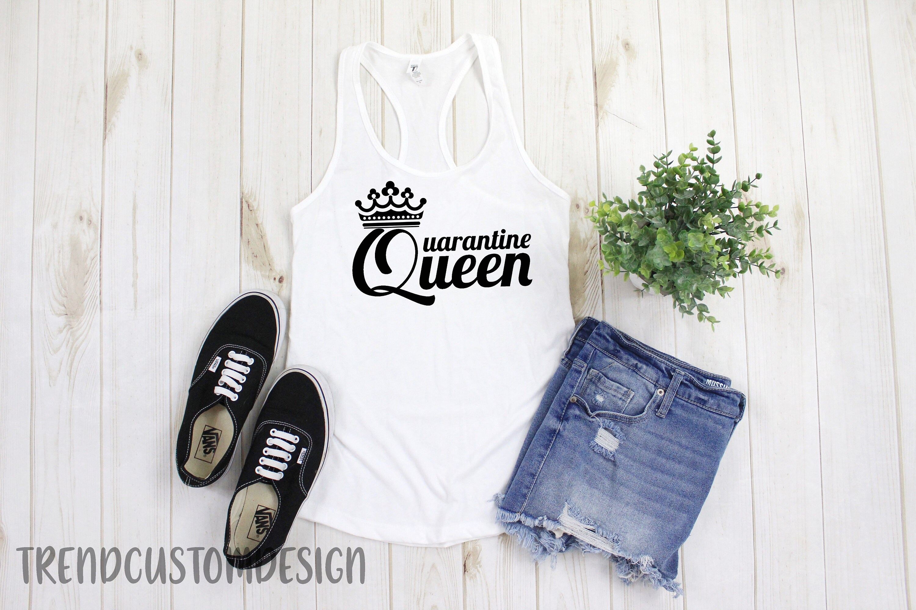 Best quarantined mom shirts from etsy - Quarantine Queen Tank