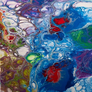16x16 Fluid Art Acrylic Pour By Shannon Jones Glow in the Dark Neon Nights Abstract