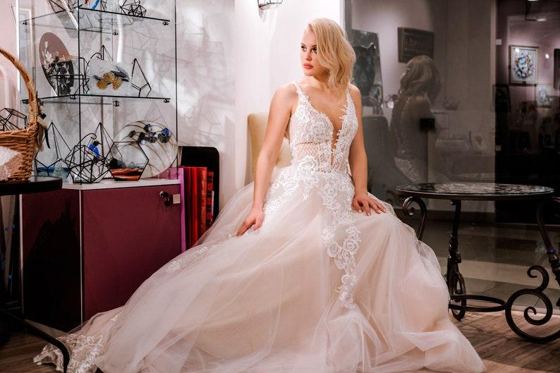 Lace Wedding Dress Boho Bridal Gown Boho Wedding Dress Tropical Wedding Dress Princess Wedding Dress Lace Wedding Dress Deep V Wedding