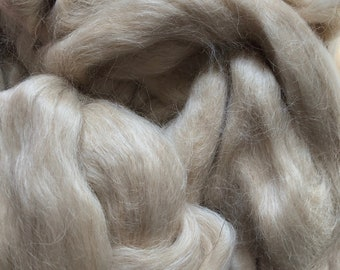 Light Tan Natural Color Mohair Roving Sold By the Ounce