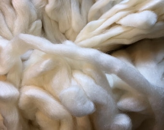 White Merino & Silk Roving sold by the Ounce