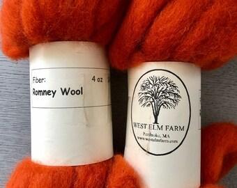 Orange Dyed Romney Wool Roving 4 Ounce Bundle