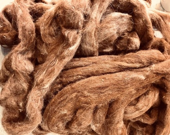 Chocolate Brown Alpaca Roving Sold By the Ounce
