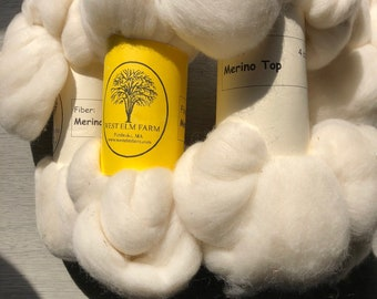 White Merino Top Roving 4 ounce Bundle