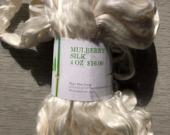 Mulberry Silk Roving 4 Ounce Budle