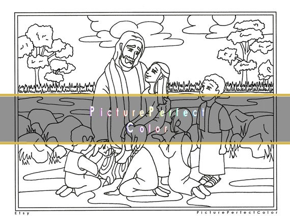 - Jesus With Children/Kids LDS Coloring Page For Adults And Kids Etsy
