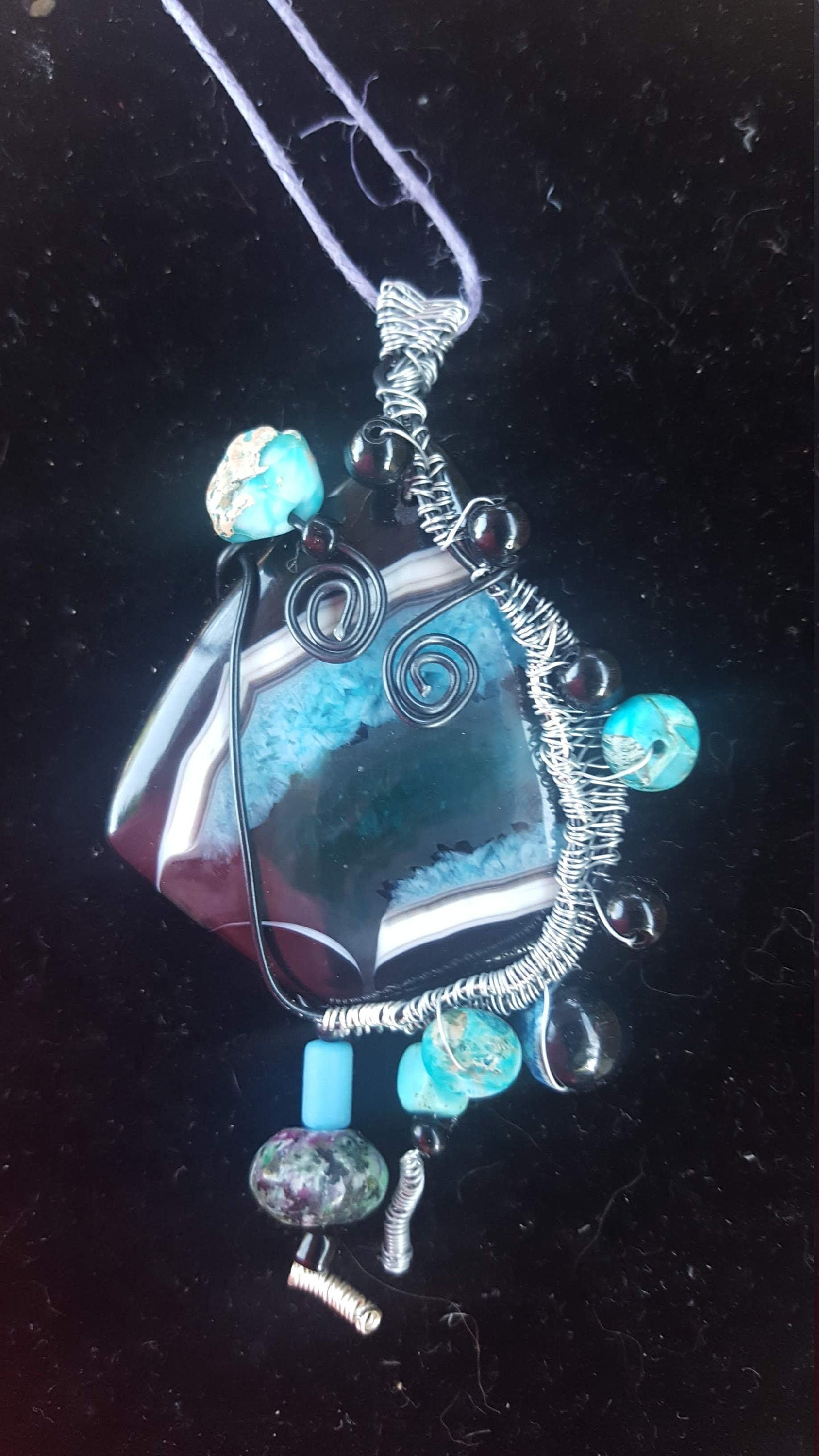Blue Ocean Agate Terdrop Wire Wrapped necklace