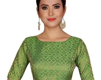 Green Short Length Sleeves Benarasi Brocade Saree Blouse Readymade Designer Silk Saree Blouse Fabric Tunic Top sari Choli Women Indian