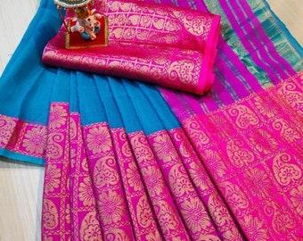 Banarasi Cotton Doriya Saree Bridal Saree Weaving Unstitched Blouse Indian Sari Dress Gifts Wedding Wear Sari Women Festive bridesmaid