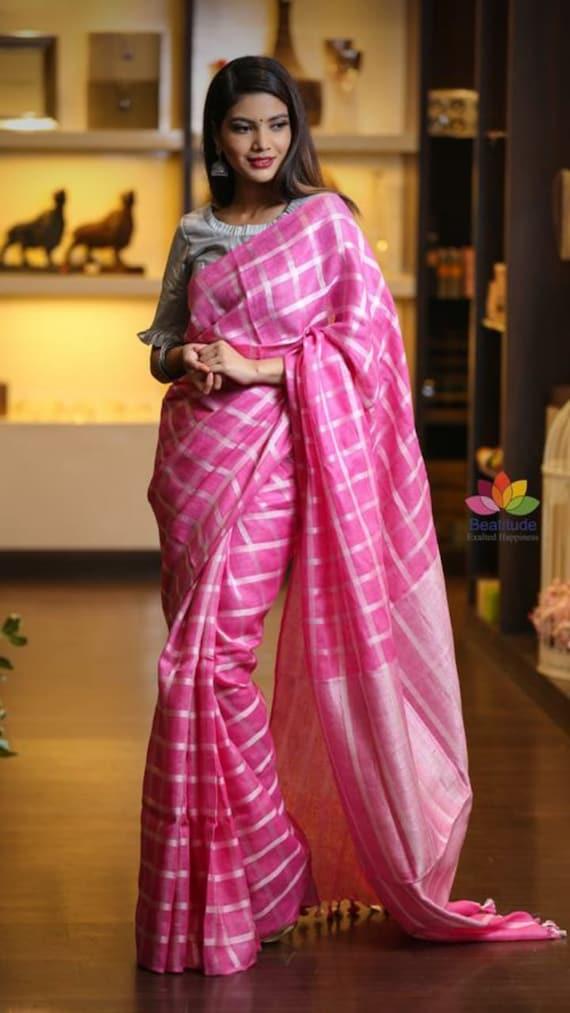 Free Shipping Linen saree Linen Silk Saree Organic Linen by Linen Sarees with Zari Border With Blouse Piece Handwoven 100/% count Linen saree