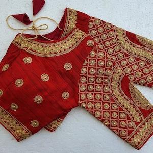 Black 34 Sleeves Designer Rajasthan Embroidery Readymade Choli Blouse Party Wedding Bridal Saree Stitched Crop Sari Top New Art Silk Women
