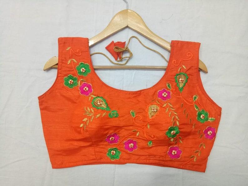 Banglori Silk Blouse Ready Made Blouse Orange Blouse Designer Floral Embroidered Blouse Fabric Saree Sari Choli Crop Top Party Wear Tunic