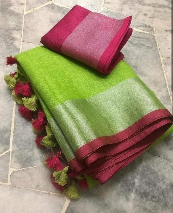 Free Shipping Linen saree Linen Silk Sari Organic Linen by Linen Sarees Embroidered Zari Border Blouse Piece Linen Saree For Women 100/%Linen