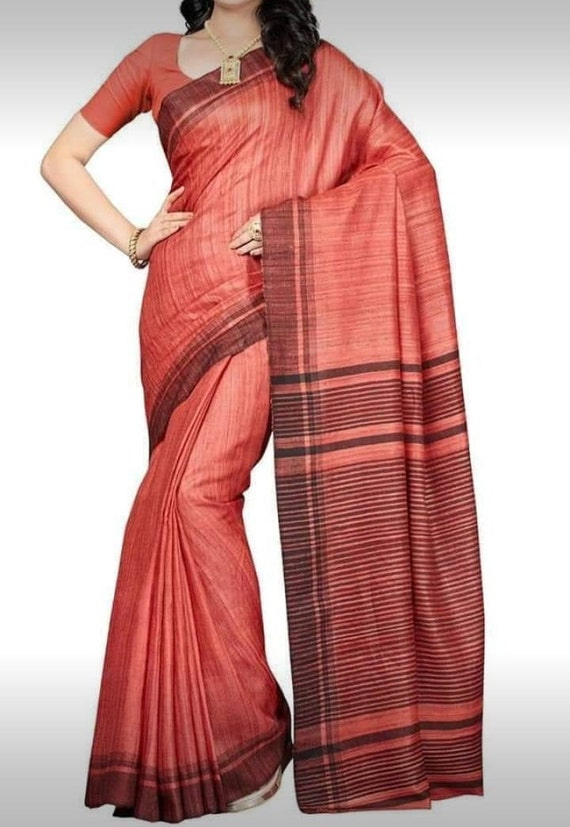TUSSAR SILK Designer Saree Indian Traditional Christmas Gift Occasional Wear Party Wedding Sari Wear with Blouse