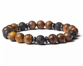 Bracelet - SATY - Tiger Eye Matte Lava Stone Natural Stone Hematite
