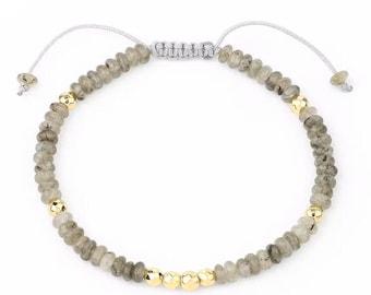Bracelet - SUNDARATA - Labradorite adjustable natural stones