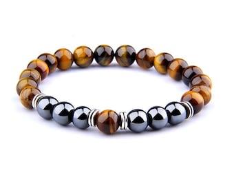 Bracelet - SANTULAN - Eye of tiger Hematite natural stone