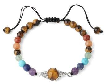 Bracelet - 7 CHAKRAS - Tiger eye adjustable natural stones