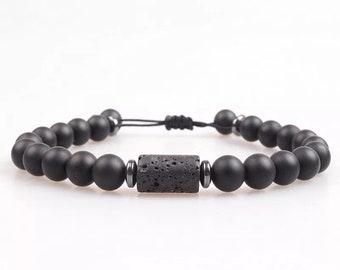 Bracelet * NATURAL * Agate black matte Onyx Wood natural stones adjustable