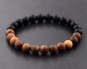 Bracelet - NATUREL - Agate black Onyx Wood natural stone