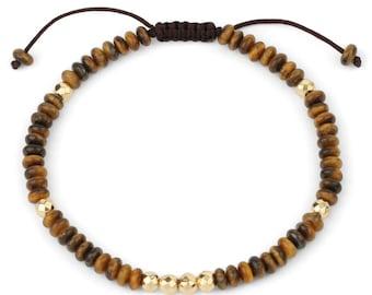 Bracelet - SUNDARATA - Tiger Eye adjustable natural stones