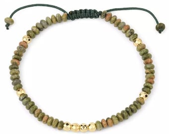 Bracelet - SUNDARATA - Unakite natural stones adjustable