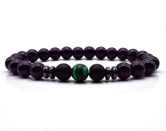 Bracelet * MAN * Yin Yang Agate glossy black and matte Malachite Hematite natural stone