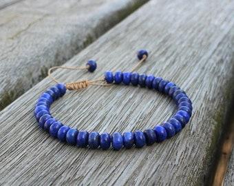 Bracelet - HARMONY - Lapis lazuli adjustable natural stones