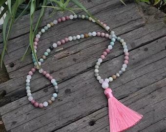 Necklace mala * BOHEME * rhodocrosite Amazonite Pompom pink