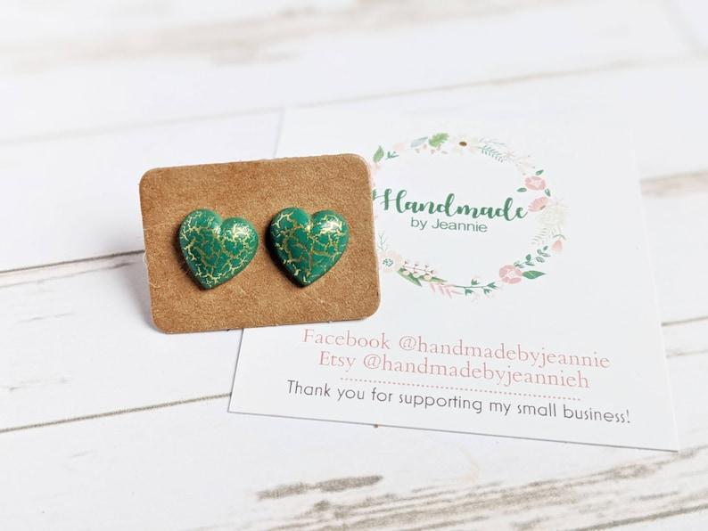 Green Crackle Heart Stud Earrings