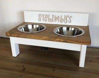 Stehimbiss Gr.M, feed staion mix and match, handmade/ lettering milled, custom made, feed bowl, feed bar, dog cup