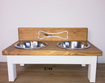 BONES Gr.M, feed staion mix and match, handmade/ milled, custom-made, feed bowl, feed bar, dog cup