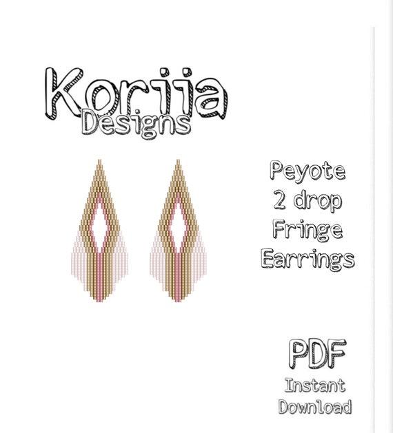 Purple white PDF seed bead pattern miyuki seed bead beaded earrings seed bead earrings brown Fringe Earrings Pattern Earrings