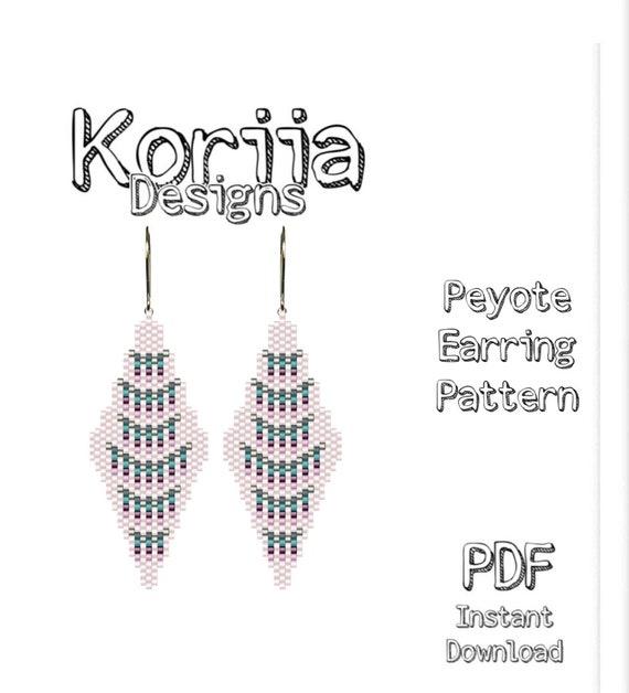 green Earrings blue PDF seed bead pattern beaded earrings Peyote Stitch Earrings Pattern pink turquoise miyuki