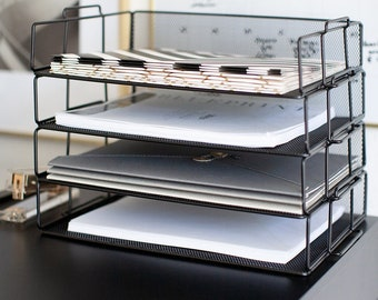 Desk Organizer 3 Trays File Holder File Tray Document Office Desktop Orgnizer