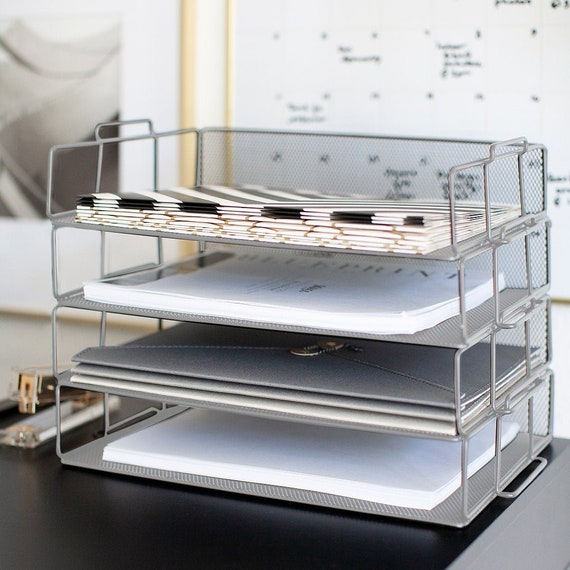Admirable Blu Monaco Desk Organizers And Accessories Stackable Paper Tray 4 Tier Stackable Letter Trays Silver Metal Mesh File Holder Organizer Home Remodeling Inspirations Cosmcuboardxyz