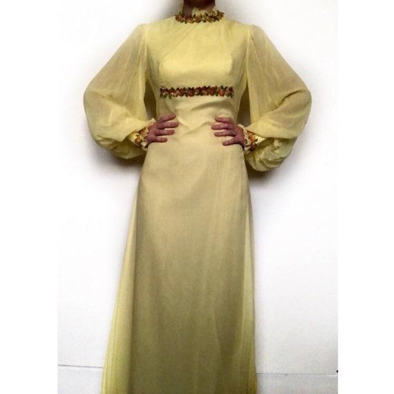 Vintage 70s Boho Bishop Sleeve Maxi Dress