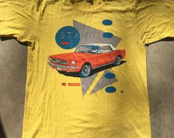 3bef1f09f2478 Vintage Mustang Classic American Muscle Car America Tee Shirt - Unisex  Adult Large Vintage Clothing - Vtg - Streetwear - Retro