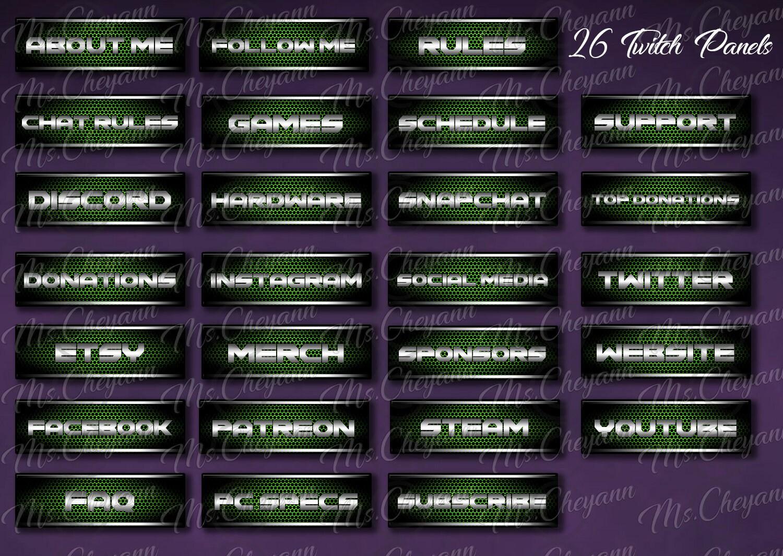 Green Metal Twitch Panels- Green Metal Streamer Panels