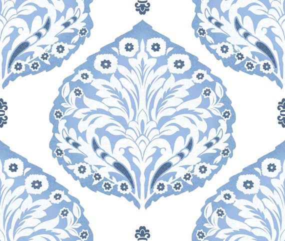 Swatch Periwinkle Damask Block Print Wallpaper Removable Peel And Stick Nursery Living Room Classic