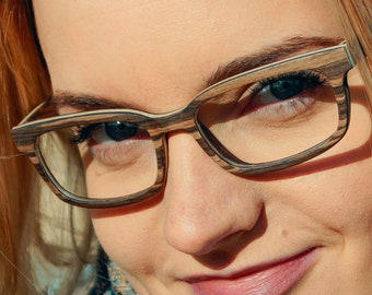 6a30167f2e Wooden eyeglasses made of ebony wood. With prescription lenses.