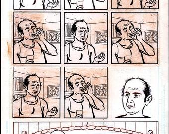 Medicating in the Early A.M. 4, Original Comic Book Art by Josh Neufeld from Harvey Pekar's AMERICAN SPLENDOR
