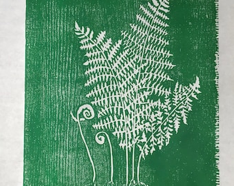 woodcut print of sweet ferns in green by Margot Torrey