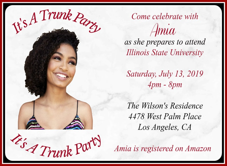 Trunk Party Invitation Going To College Class Of 2019 Personalized