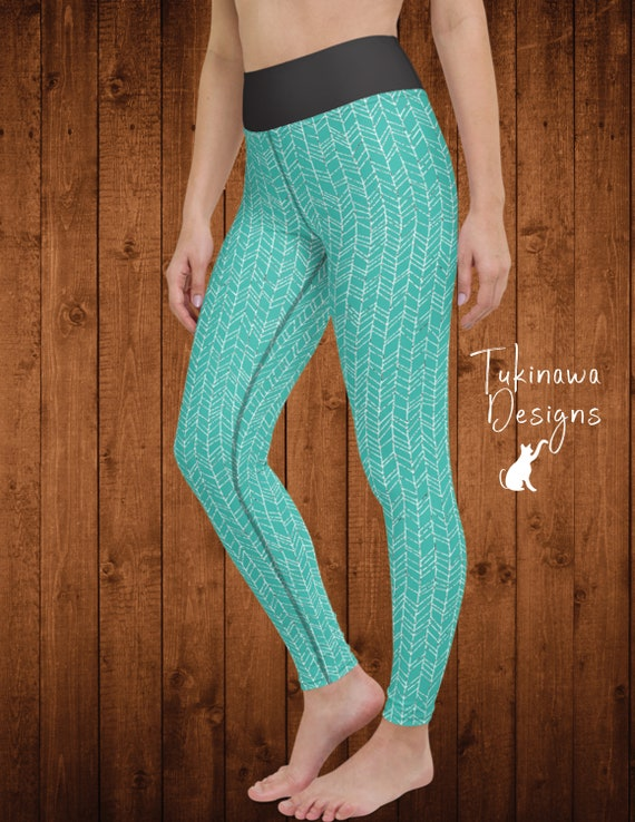 Blue Leggings Stretchy Leggings Comfy Leggings Bubbles pattern Leafs pattern Sports Wear Aqua Vibes Blue Youth Leggings