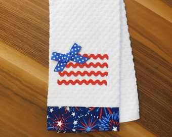 Embroidered Bathroom Hand Towel Patriotic  4th of July Theme  HS1666-1