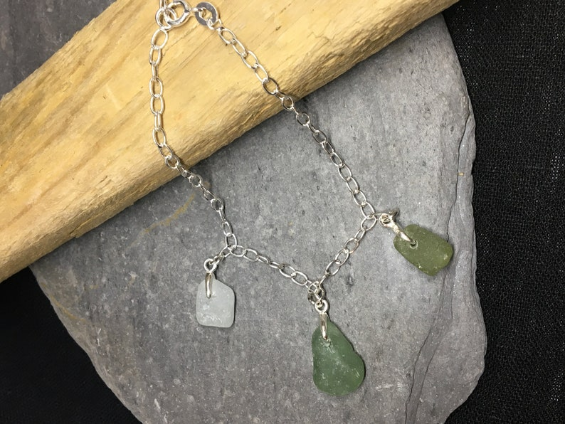 French Sea Glass and Sterling Silver Dangle Bracelet