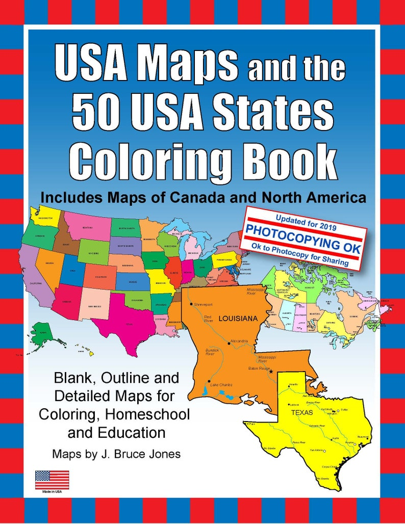 USA Maps and the 50 USA States PDF Map Coloring Book, Blank, Outline Maps  for Coloring, Homeschool and Education